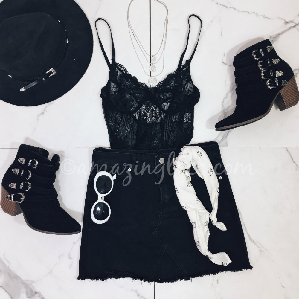 BLACK LACE BODYSUIT AND DENIM SKIRT OUTFIT