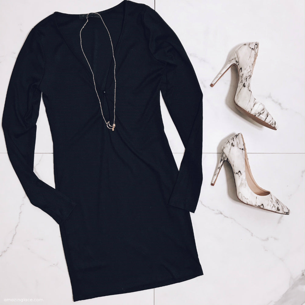 BLACK KEYHOLE DRESS AND MARBLE SHOES OUTFIT