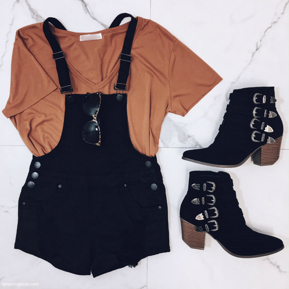 BLACK OVERALLS AND BOOTIES OUTFIT