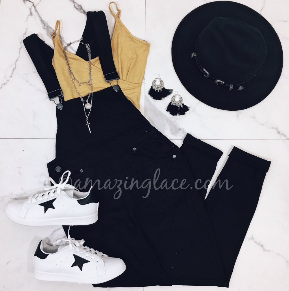 BLACK OVERALLS AND YELLOW BODYSUIT OUTFIT