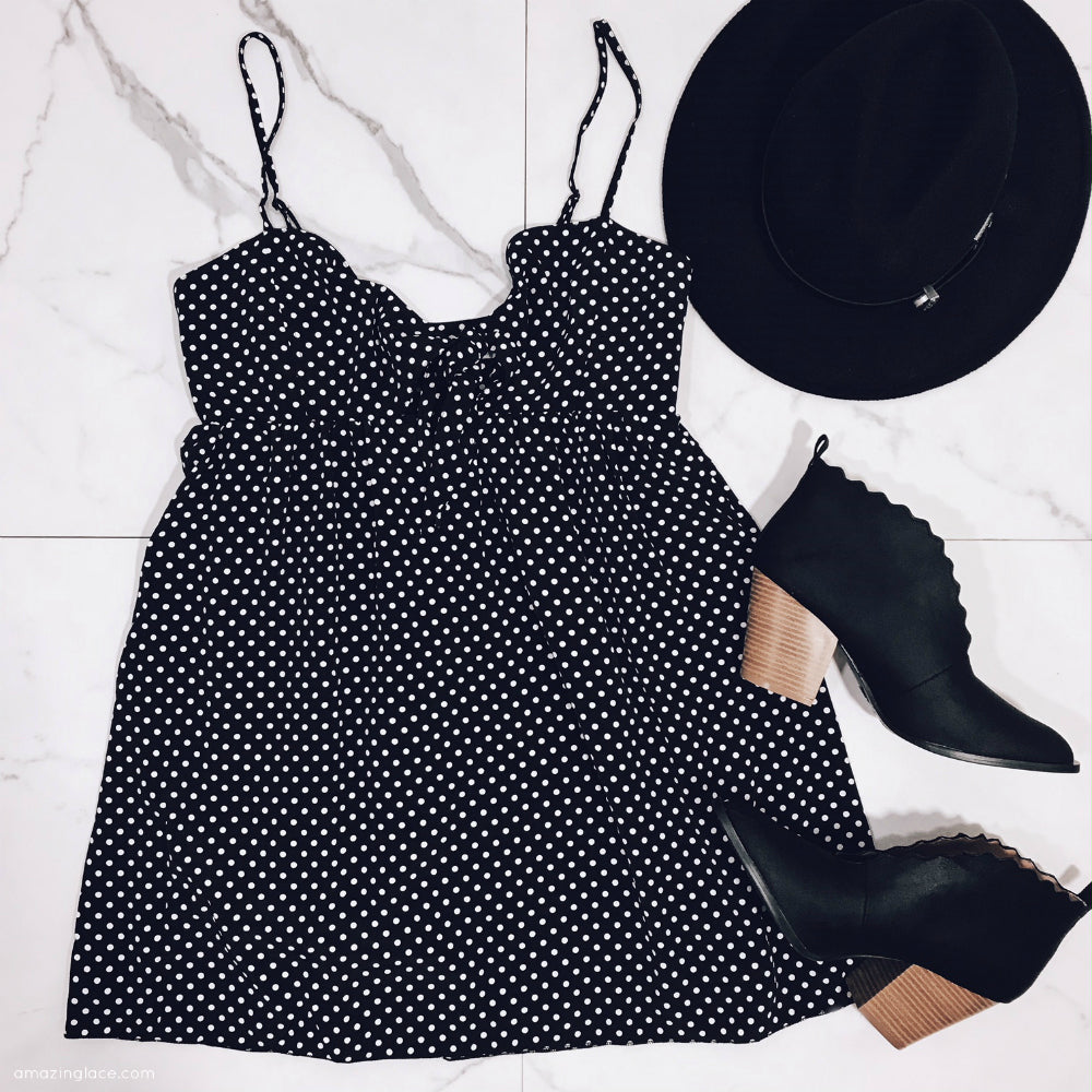 BLACK POLKA DOT DRESS AND BOOTIES OUTFIT
