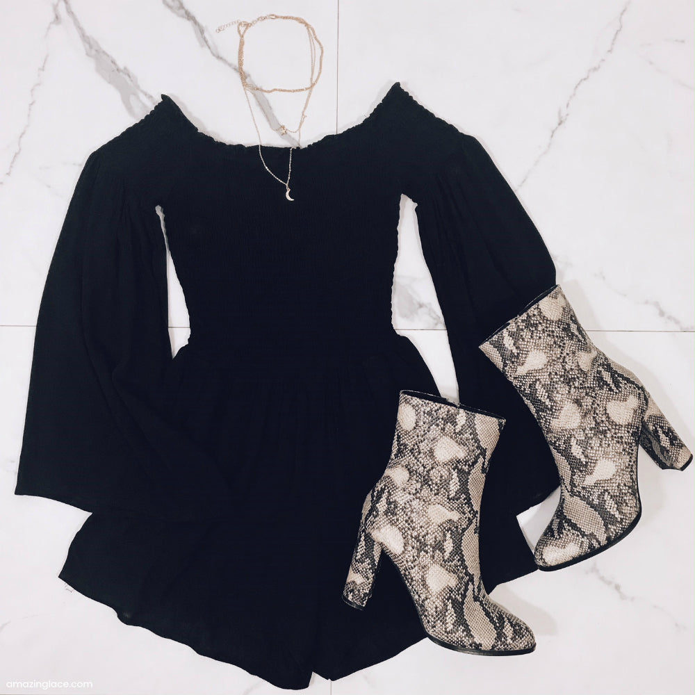BLACK OFF THE SHOULDER ROMPER OUTFIT