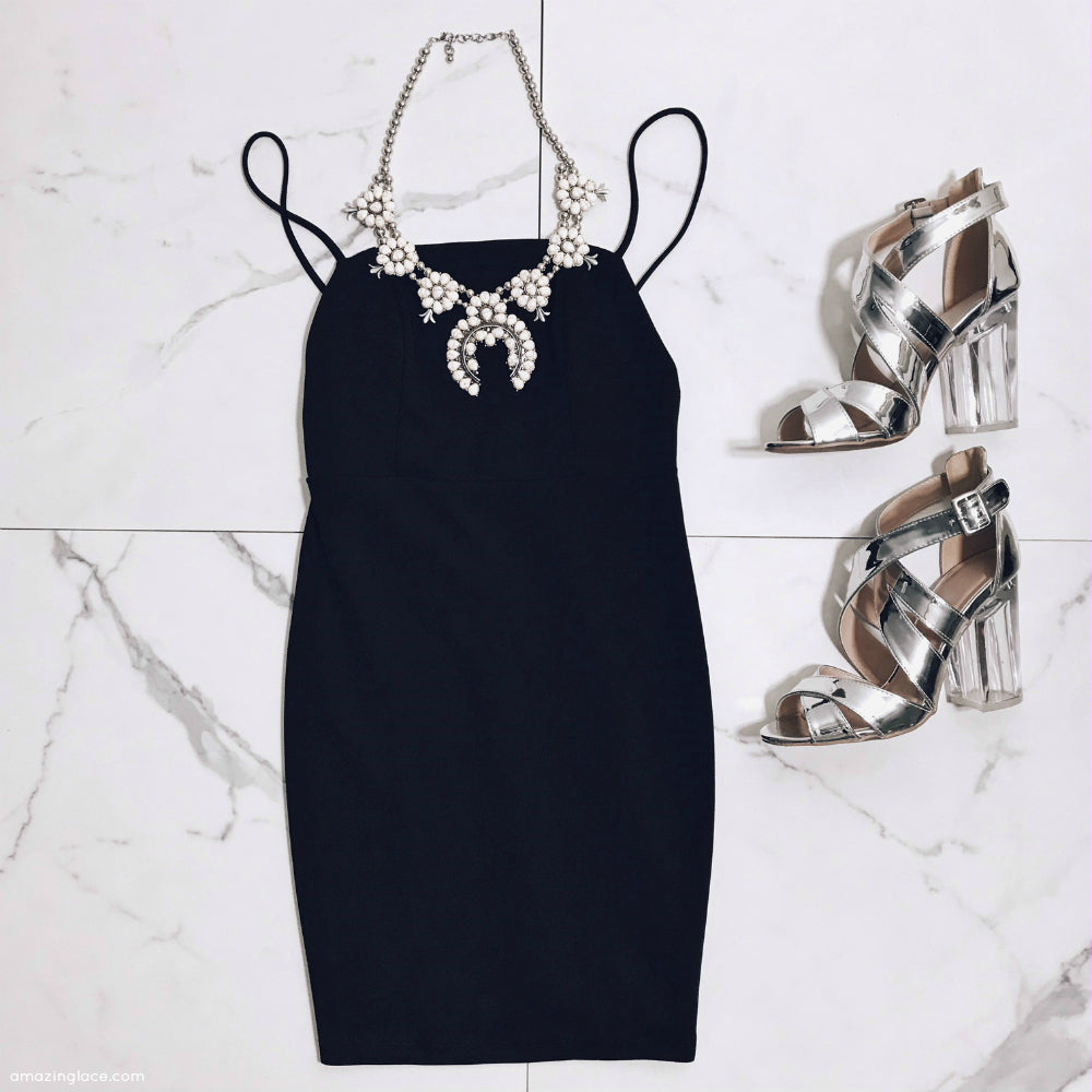 BLACK SATIN DRESS WITH SILVER HEELS OUTFIT