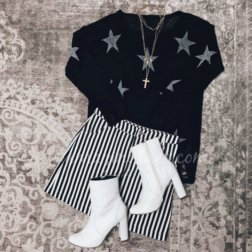 BLACK STAR SWEATER AND STRIPED SKIRT OUTFIT