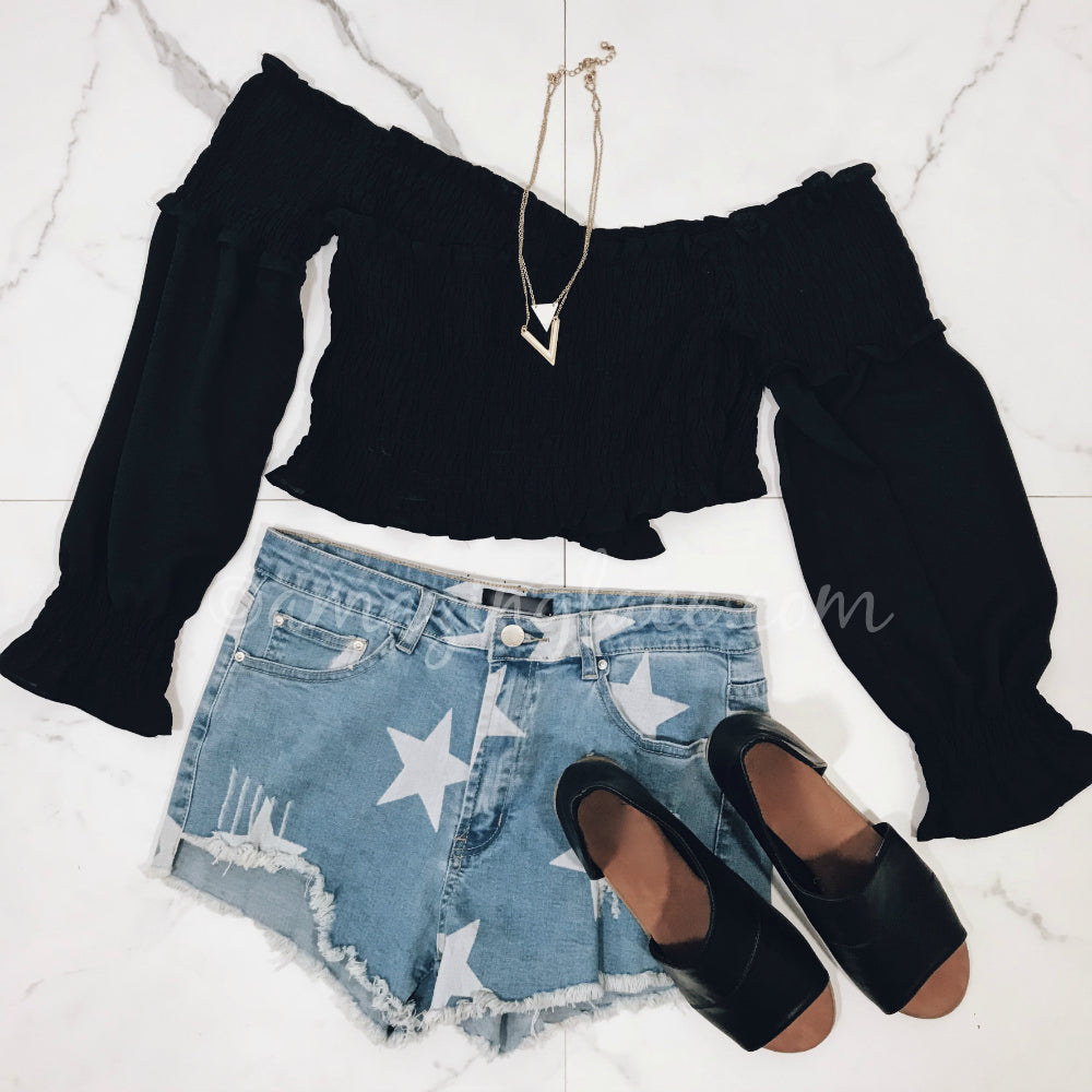 BLACK CROP TOP AND STAR SHORTS OUTFIT