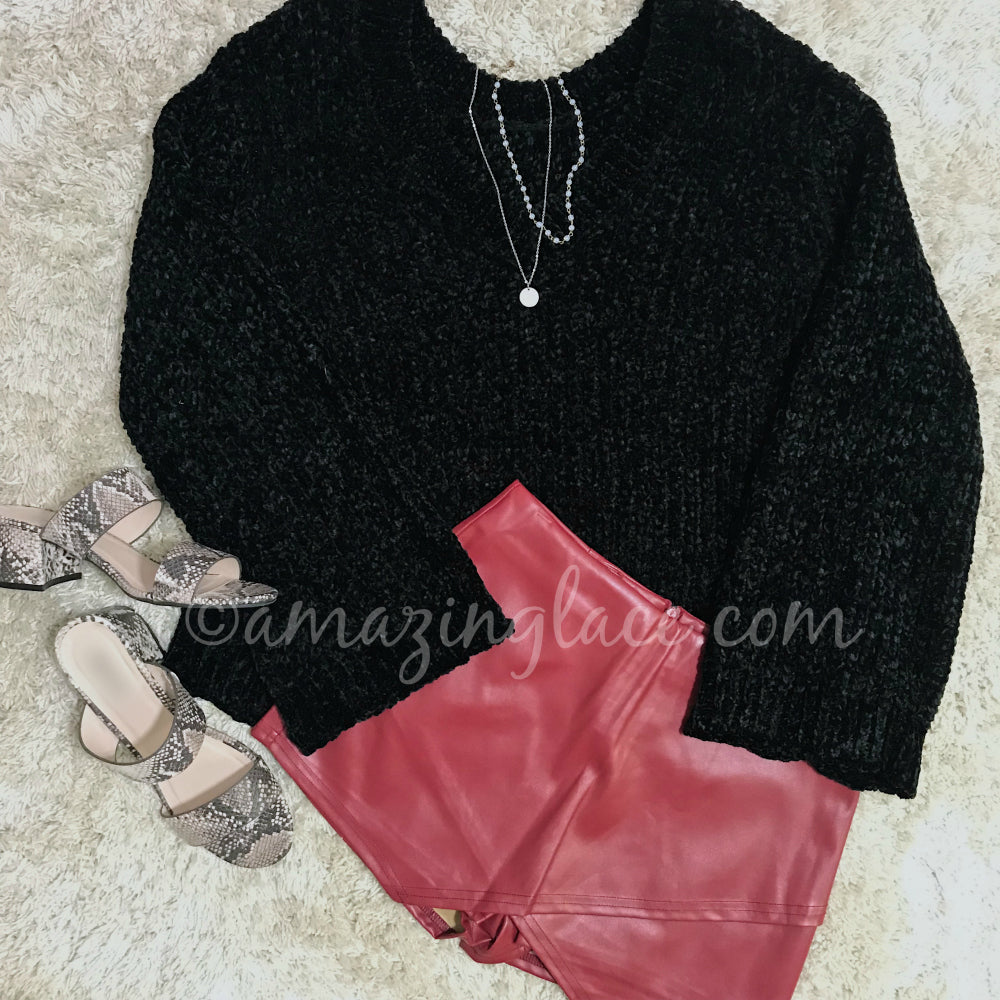 BLACK CHENILLE SWEATER AND BURGUNDY SKORT OUTFIT