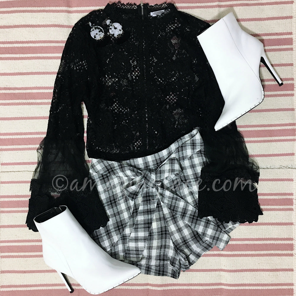 BLACK LACE TOP AND GINGHAM SHORTS OUTFIT