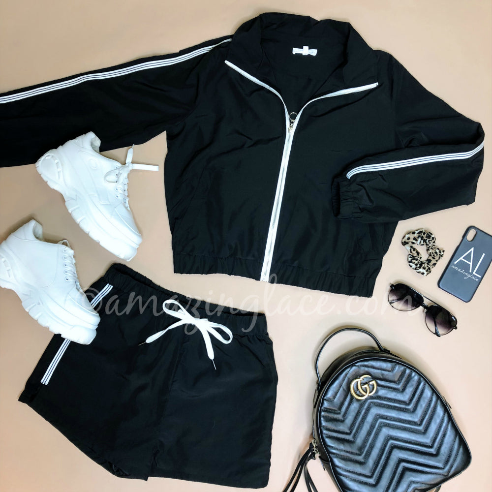 BLACK TRACK SUIT OUTFIT