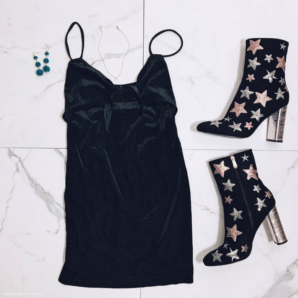 BLACK VELVET TIE FRONT DRESS WITH STAR BOOTIES OUTFIT