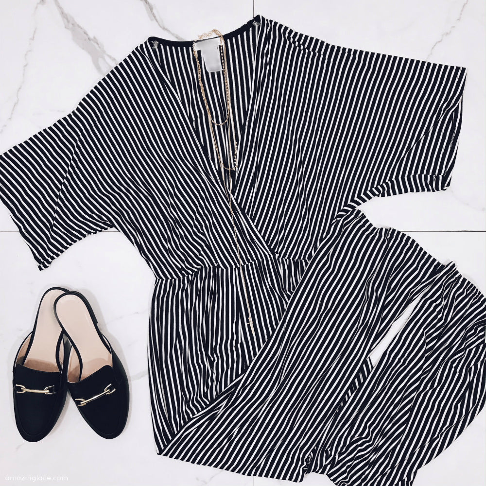 BLACK AND WHITE STRIPED JUMPSUIT AND MULES OUTFIT