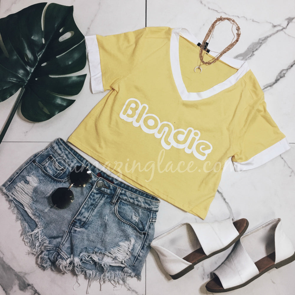 BLONDIE TOP AND JEAN SHORTS OUTFIT
