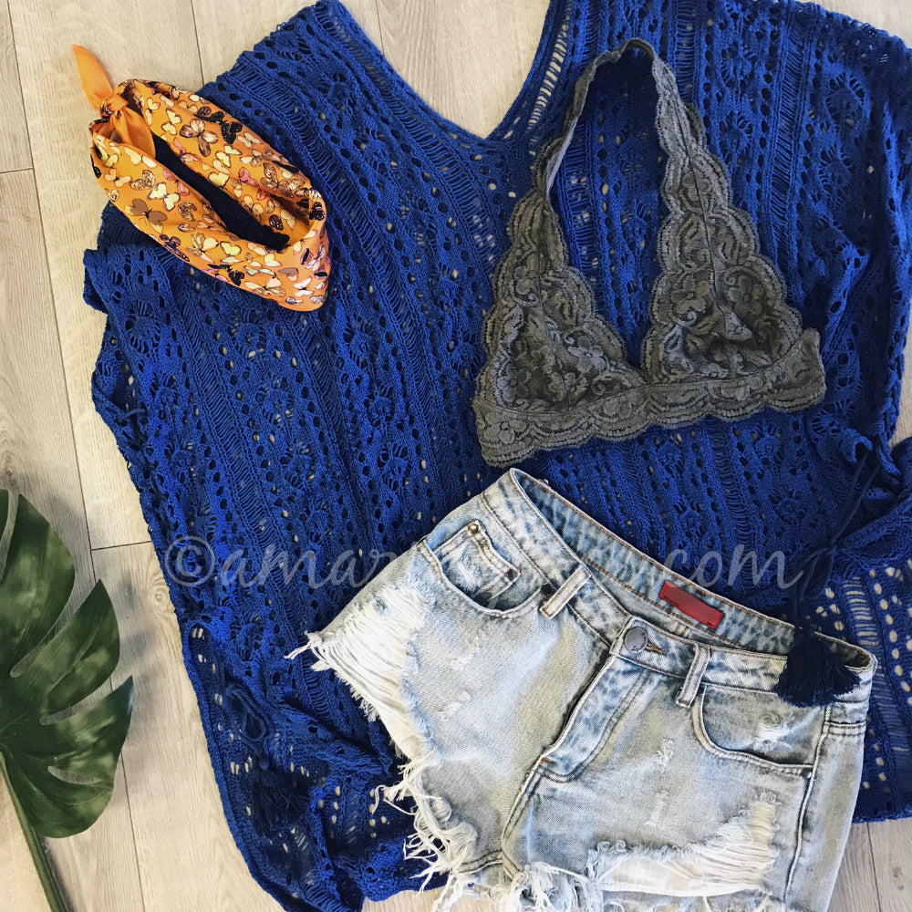 BLUE COVER UP AND DENIM SHORTS OUTFIT