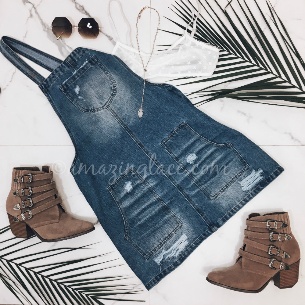 DENIM OVERALL DRESS AND BOOTS OUTFIT