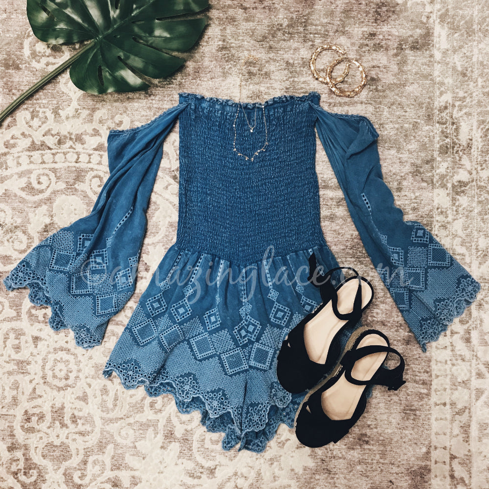 BLUE OFF SHOULDER ROMPER AND BLACK ESPADRILLES OUTFIT