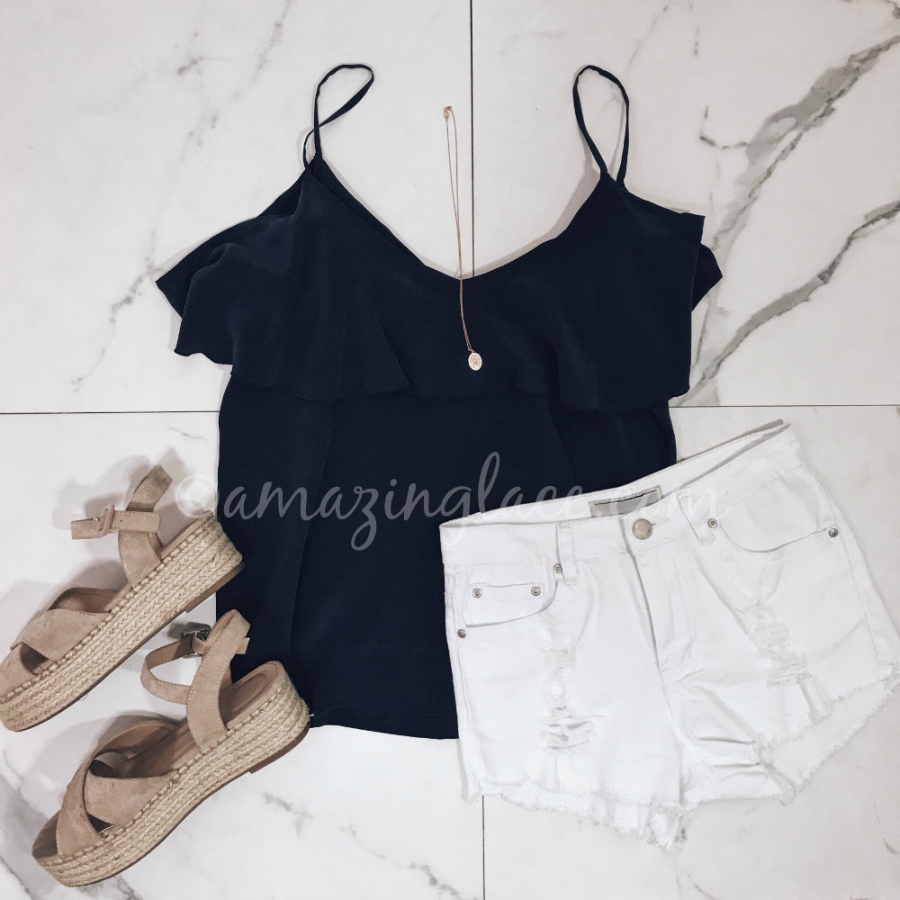 BLUE CHASER TOP AND WHITE SHORTS OUTFIT