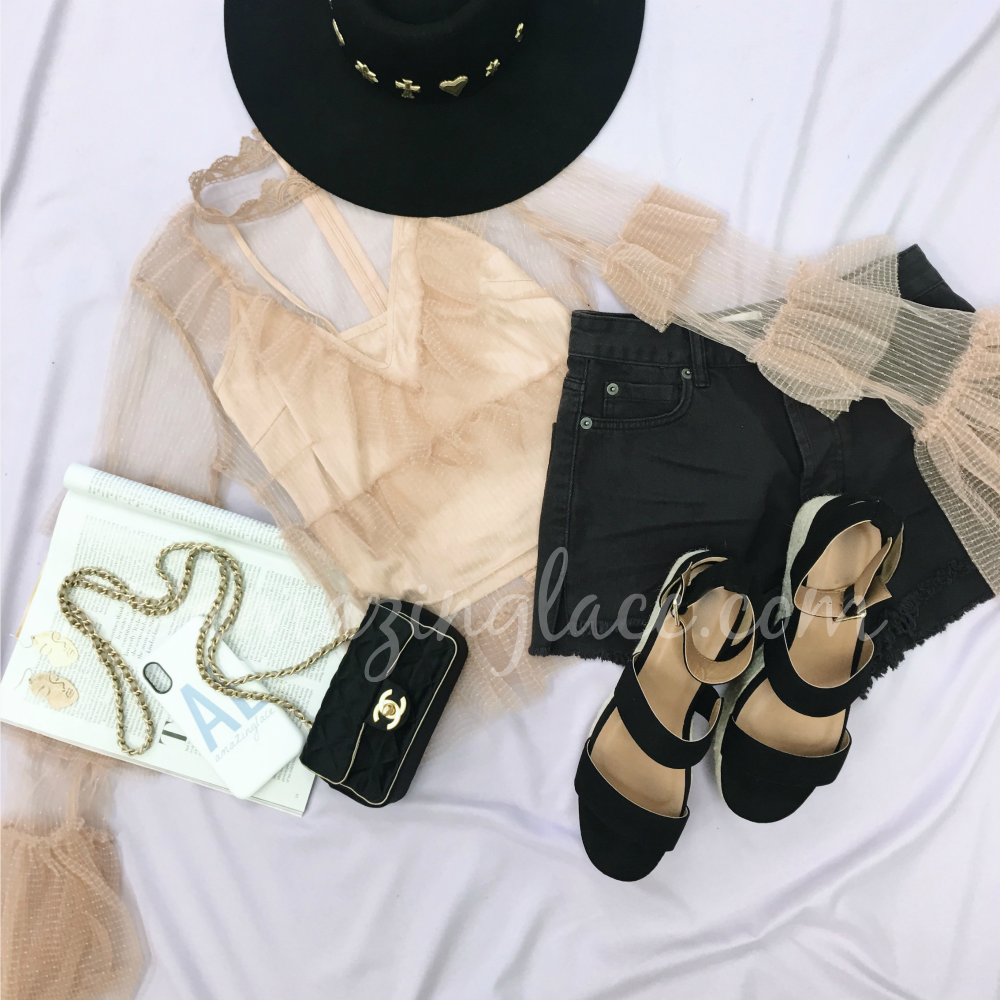 BLUSH MESH TOP AND BLACK PLATFORM ESPADRILLES OUTFIT