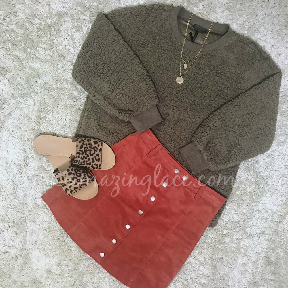 MOCHA SWEATER AND RUST CORDUROY SKIRT OUTFIT