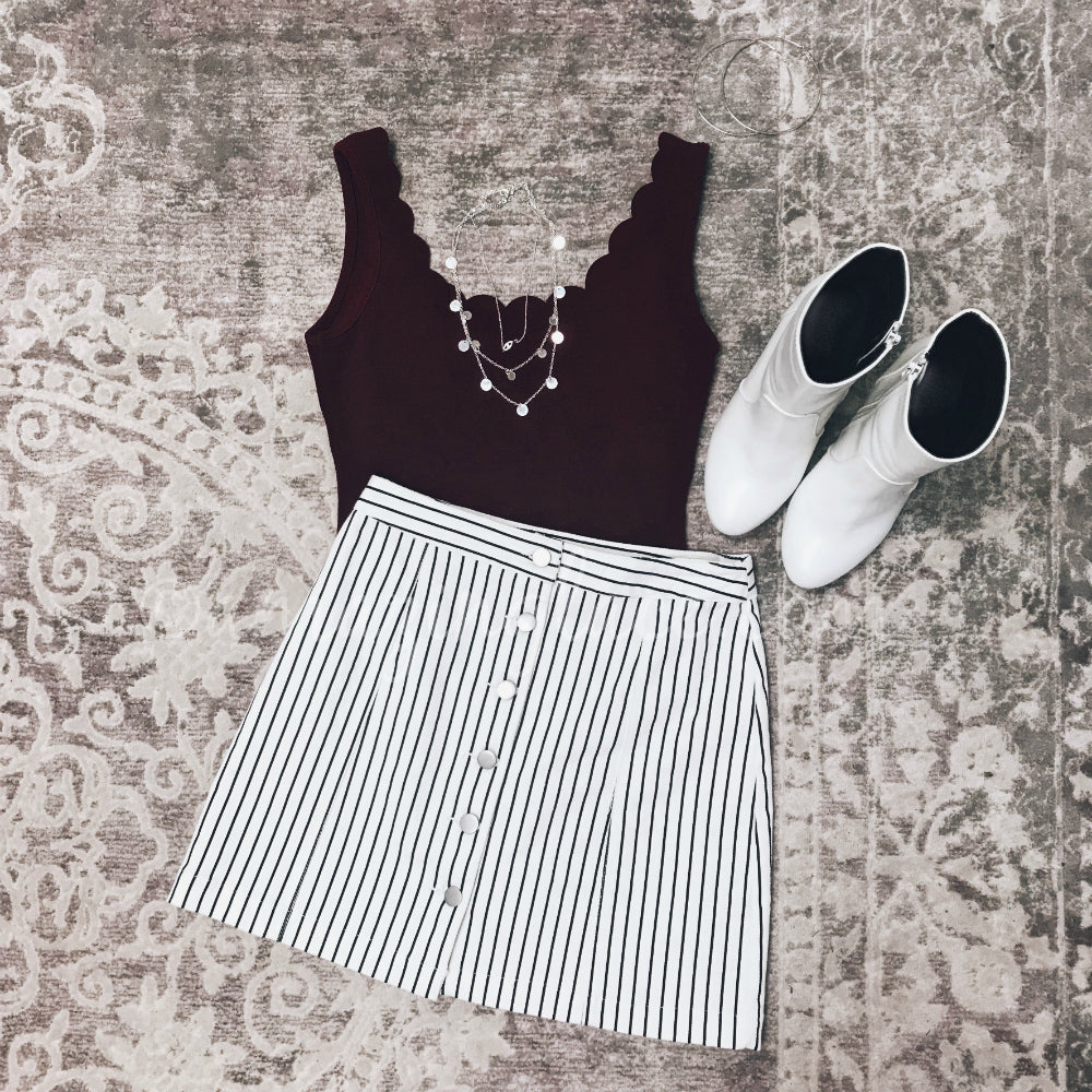 BURGUNDY BODYSUIT AND STRIPED SKIRT OUTFIT
