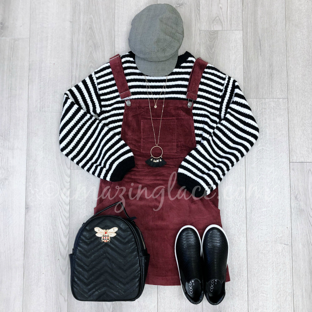 STRIPED AMUSE SWEATER AND CORDUROY OVERALLS OUTFIT