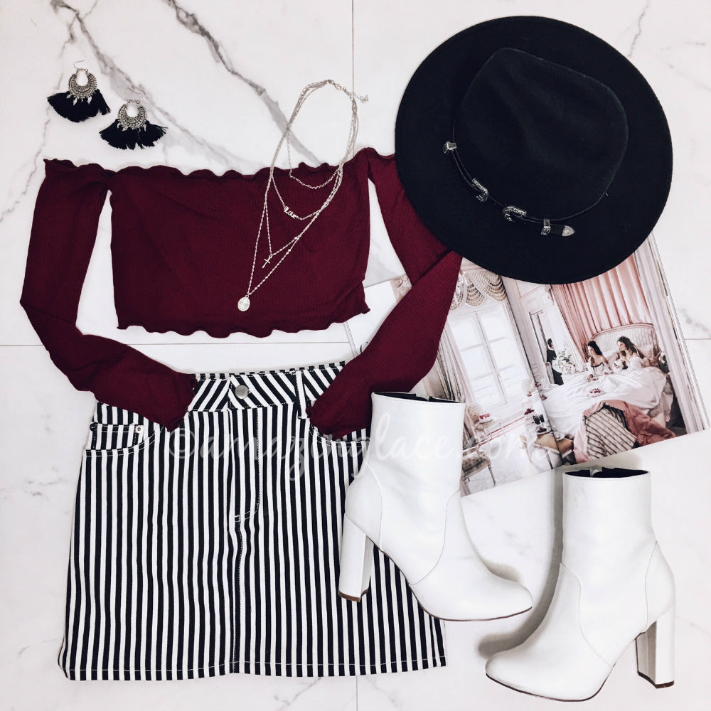 BURGUNDY TOP AND STRIPED SKIRT OUTFIT