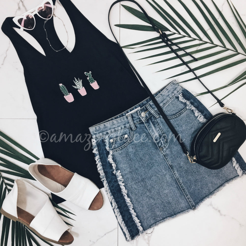 CACTUS TOP AND DENIM SKIRT OUTFIT
