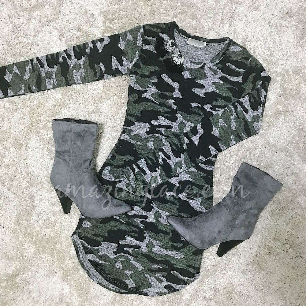 CAMO MINI DRESS AND GRAY BOOTIES OUTFIT