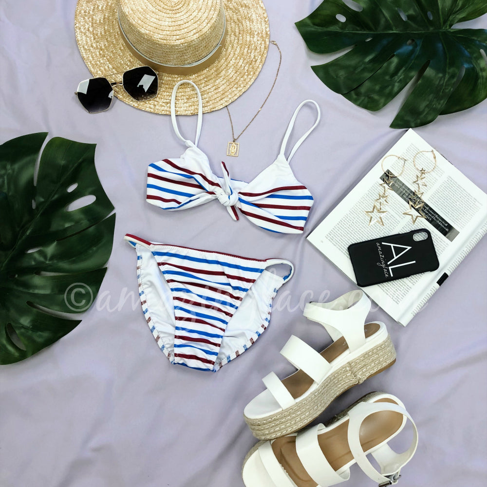 CHASER RED WHITE AND BLUE STRIPE SWIM OUTFIT