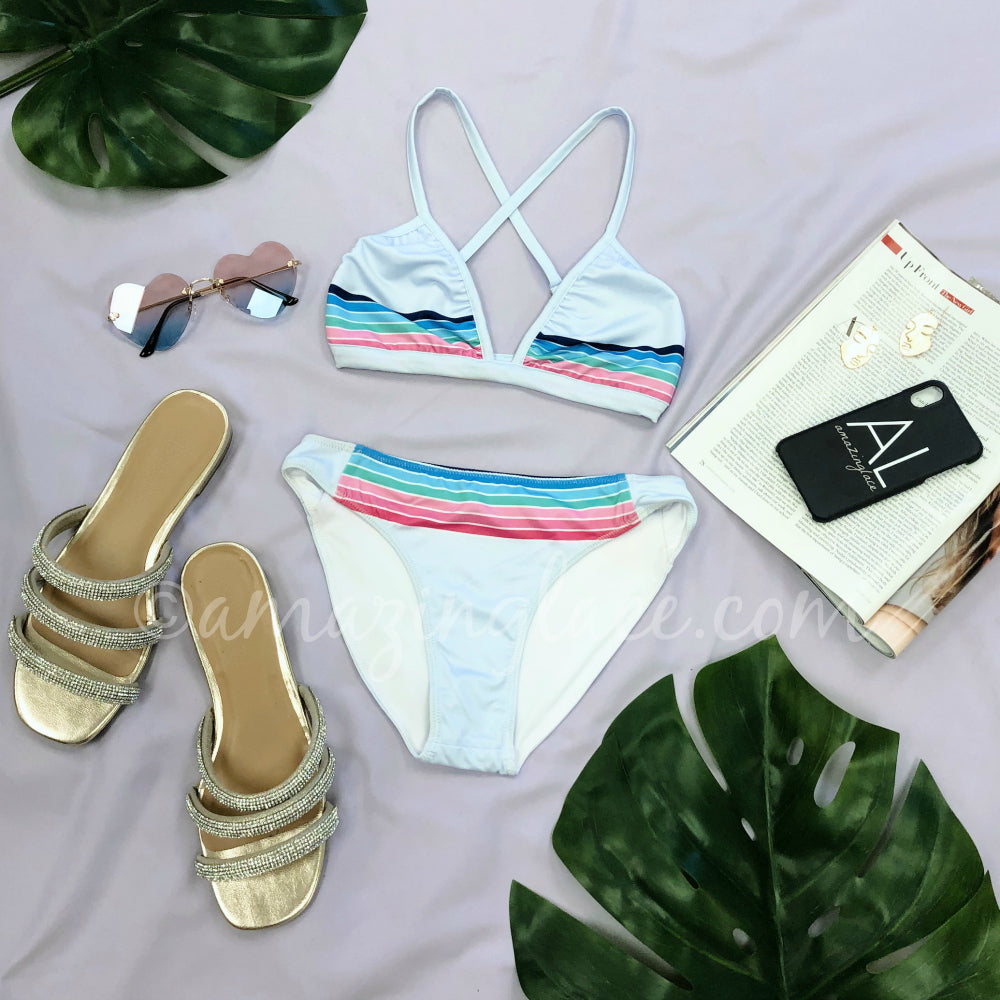 CHASER PASTEL STRIPE SWIM OUTFIT