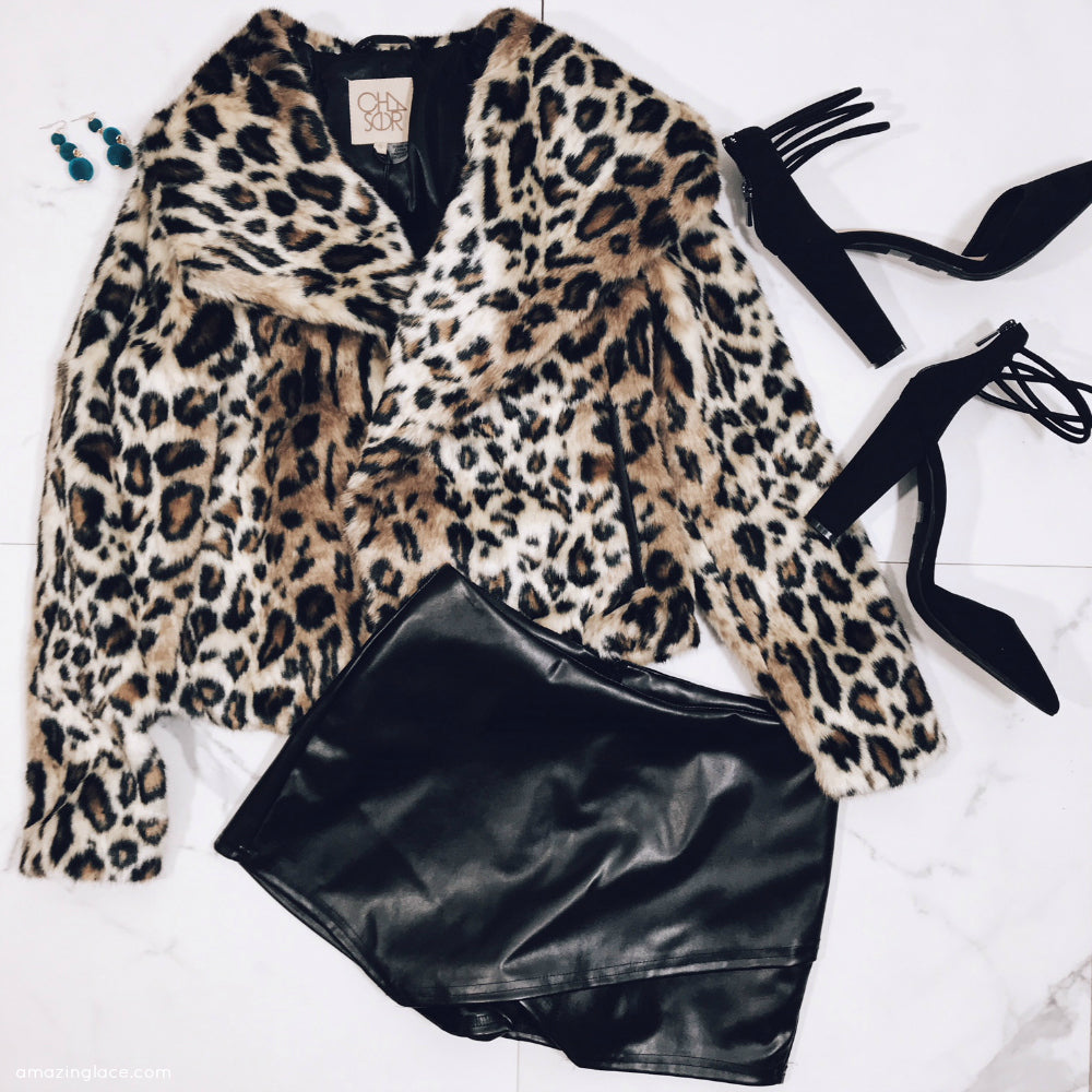 CHEETAH PRINT CHASER BRAND COAT AND SKORT OUTFIT