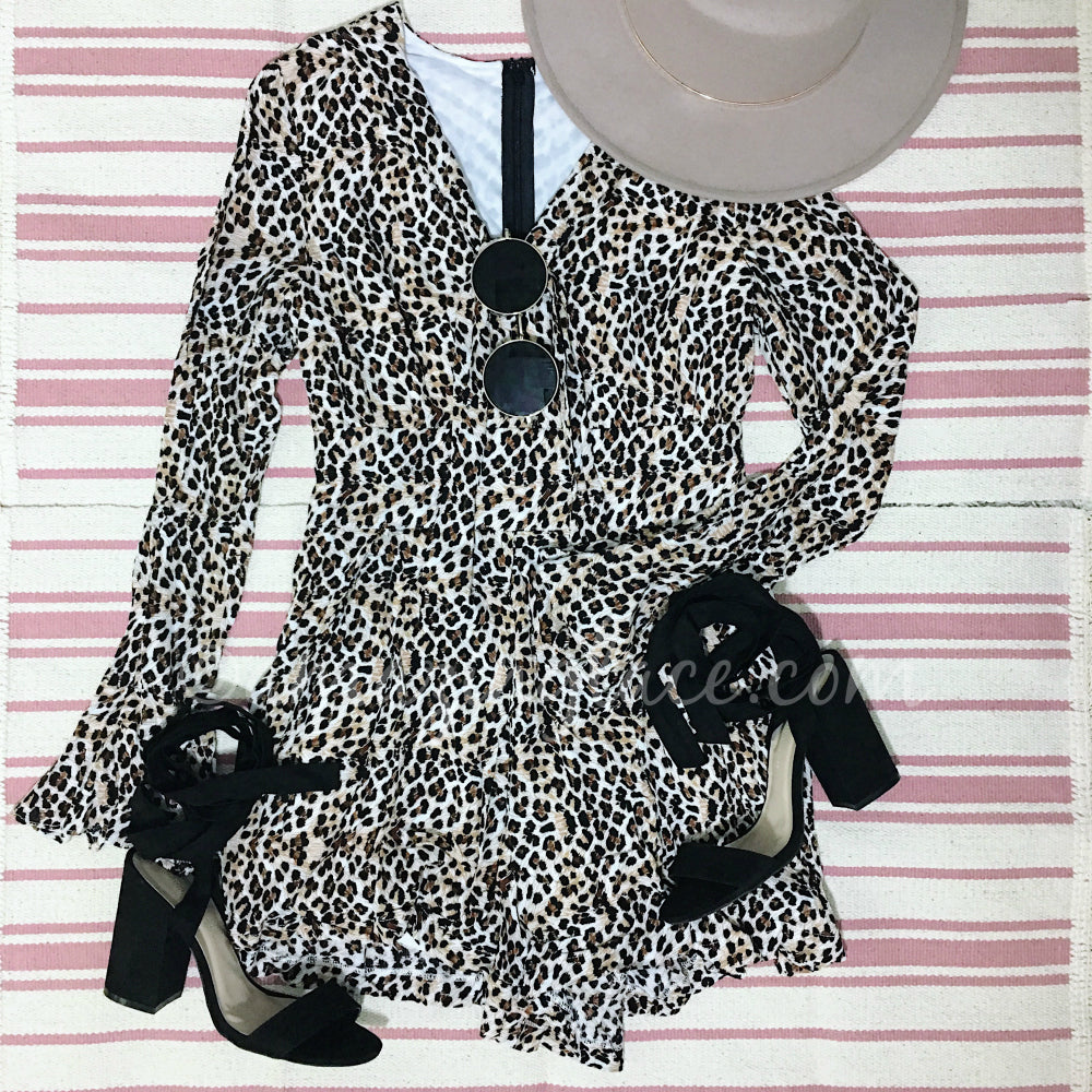 LEOPARD ROMPER AND BLACK HEELS OUTFIT