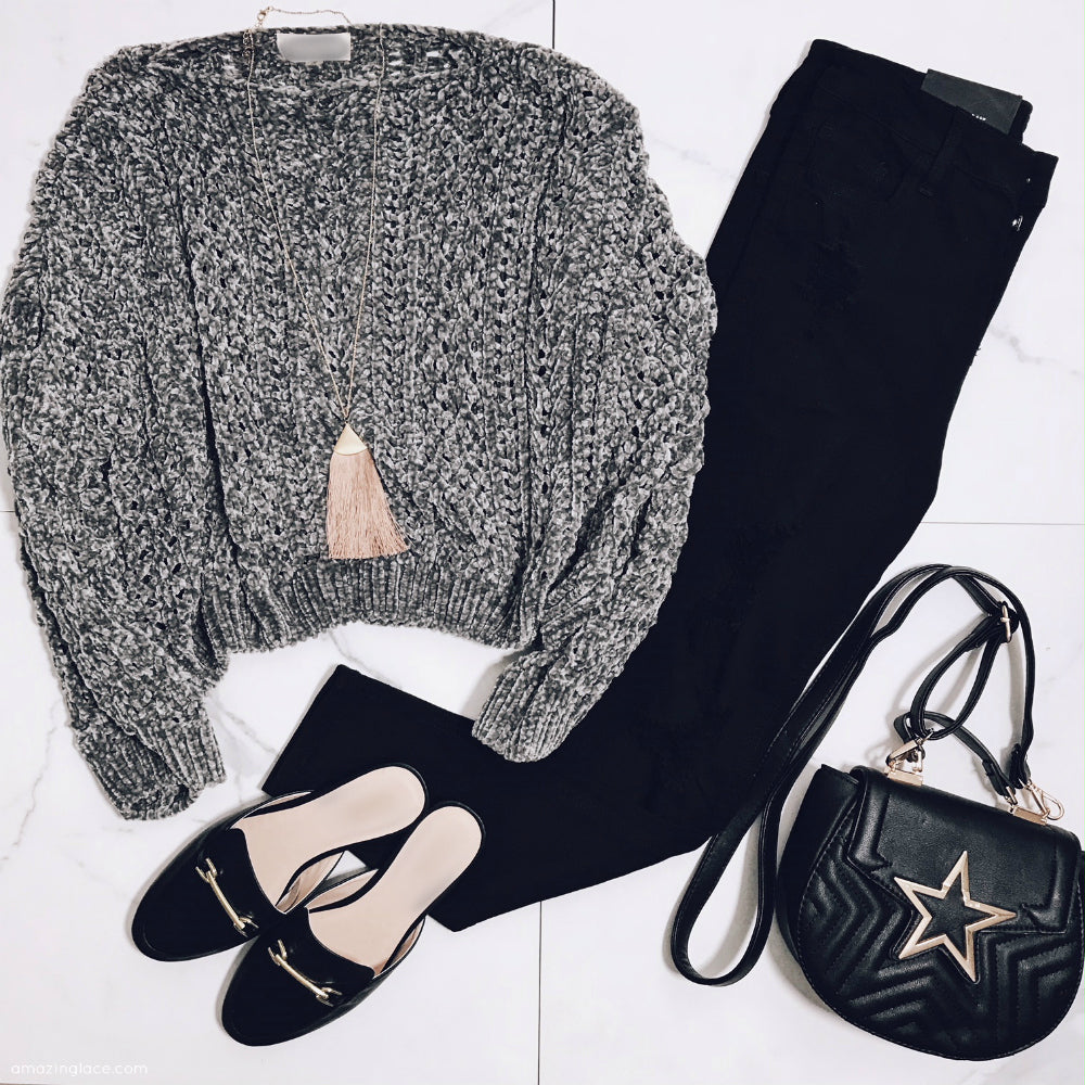 CHENILLE CROP TOP AND BLACK PANTS OUTFIT