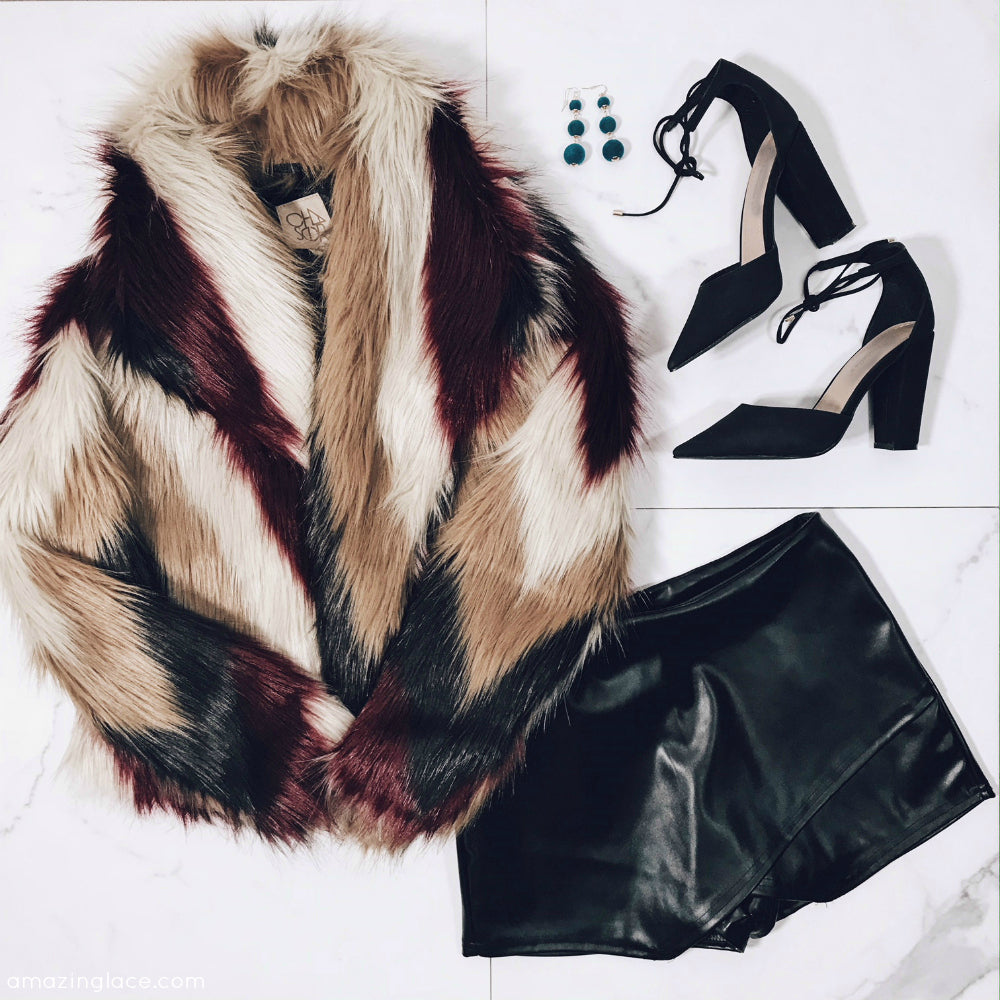 CHASER FUR COAT HOLIDAY OUTFIT