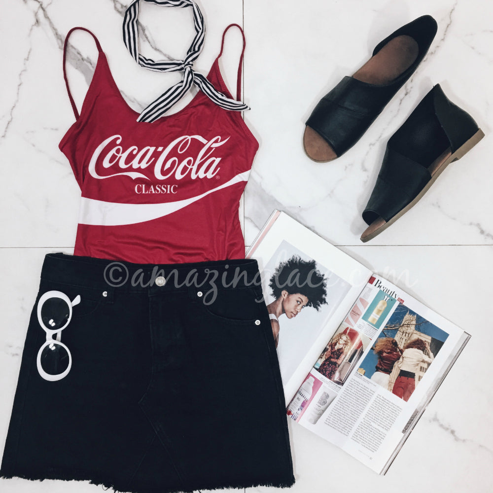 CHASER COCA-COLA ONE PIECE SWIM AND SKIRT OUTFIT