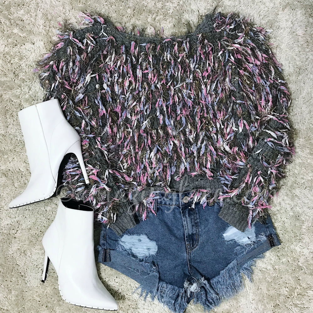 GRAY SHAG SWEATER AND WHITE BOOTS