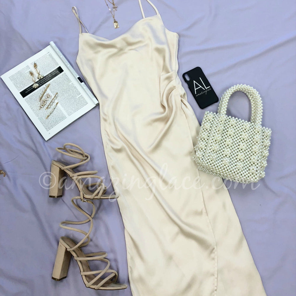 CHAMPAGNE SATIN DRESS AND PEARL PURSE OUTFIT