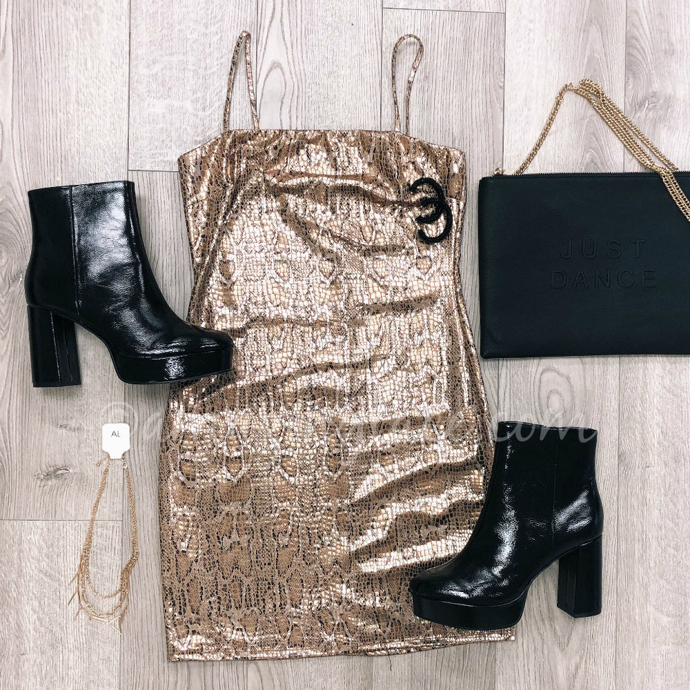SNAKESKIN DRESS AND PATENT LEATHER CHINESE LAUNDRY BOOTS OUTFIT