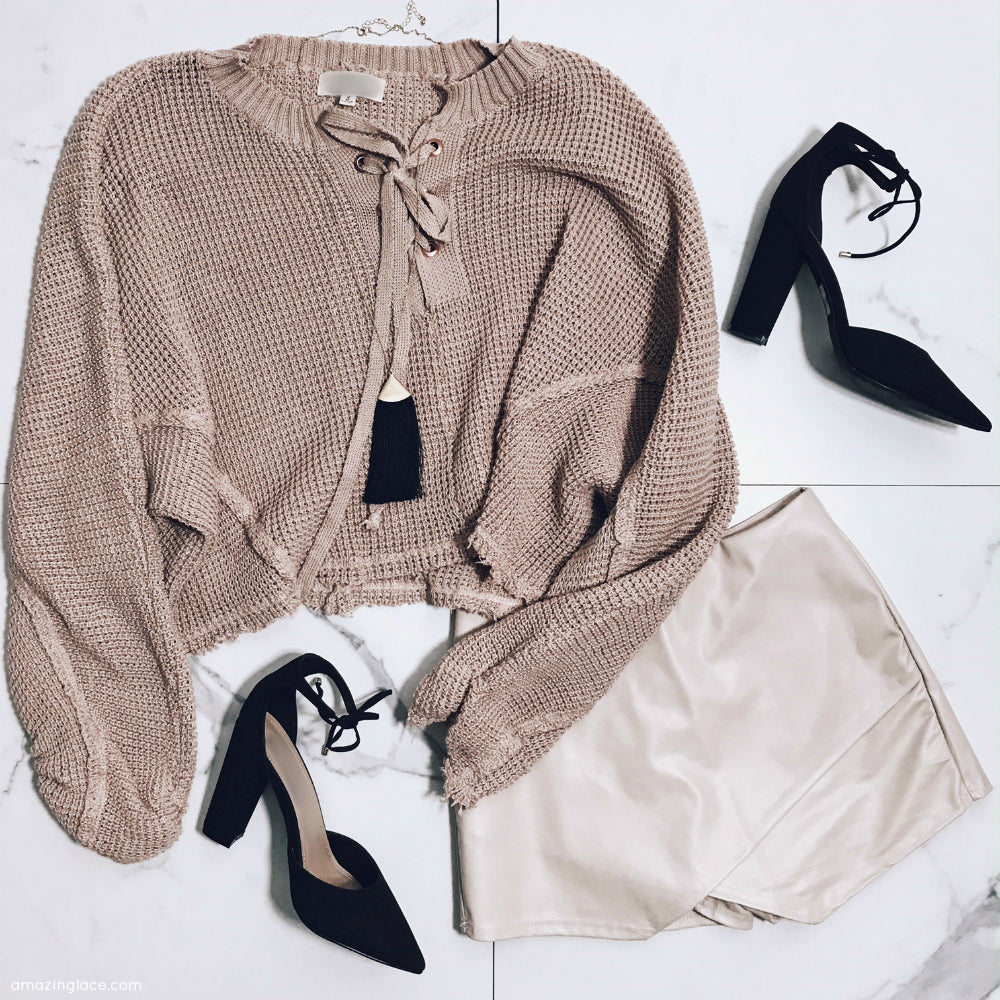 WAFFLE KNIT CROP TOP AND TAN LEATHER SKORT OUTFIT