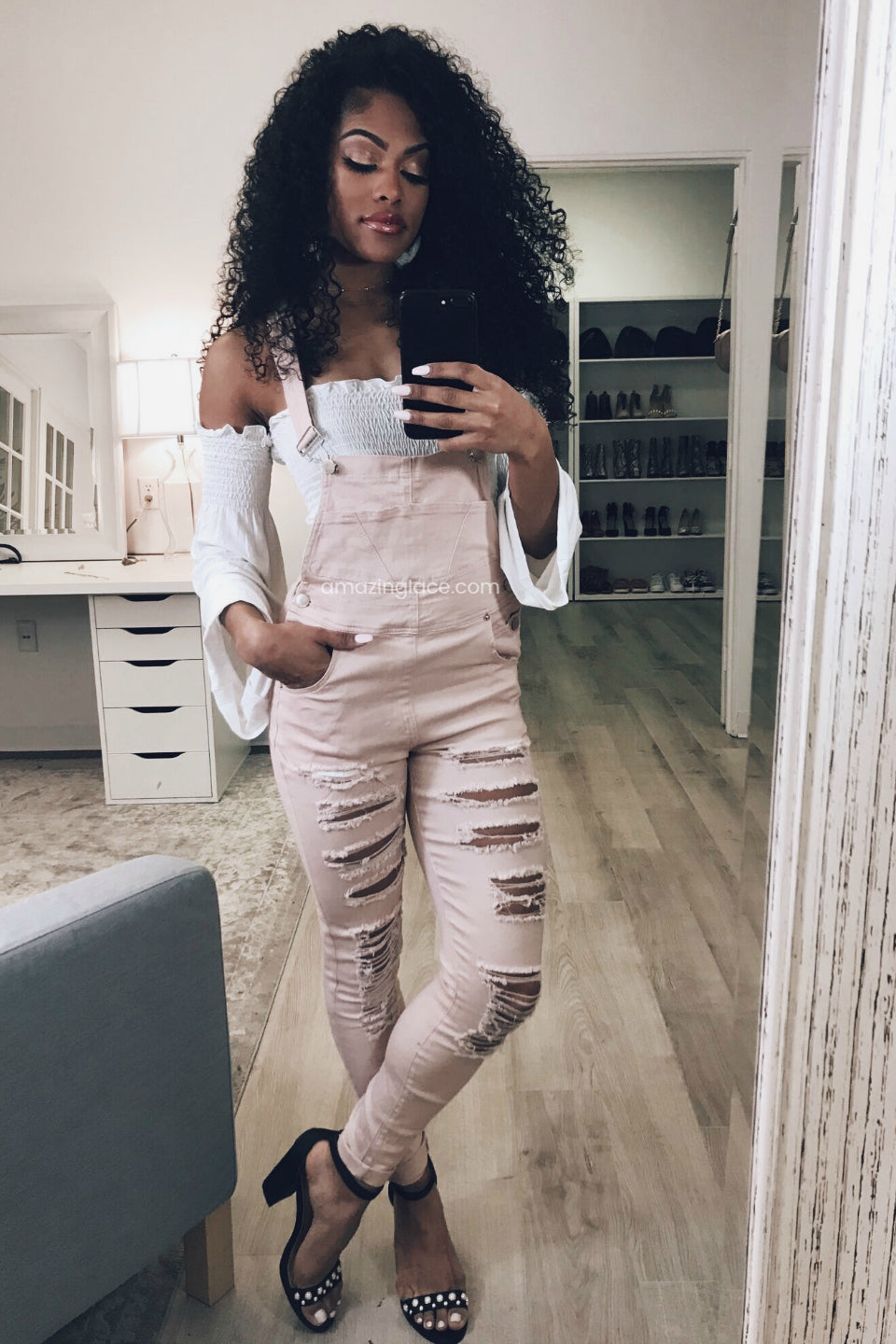 DUST PINK OVERALLS AND CROP TOP OUTFIT
