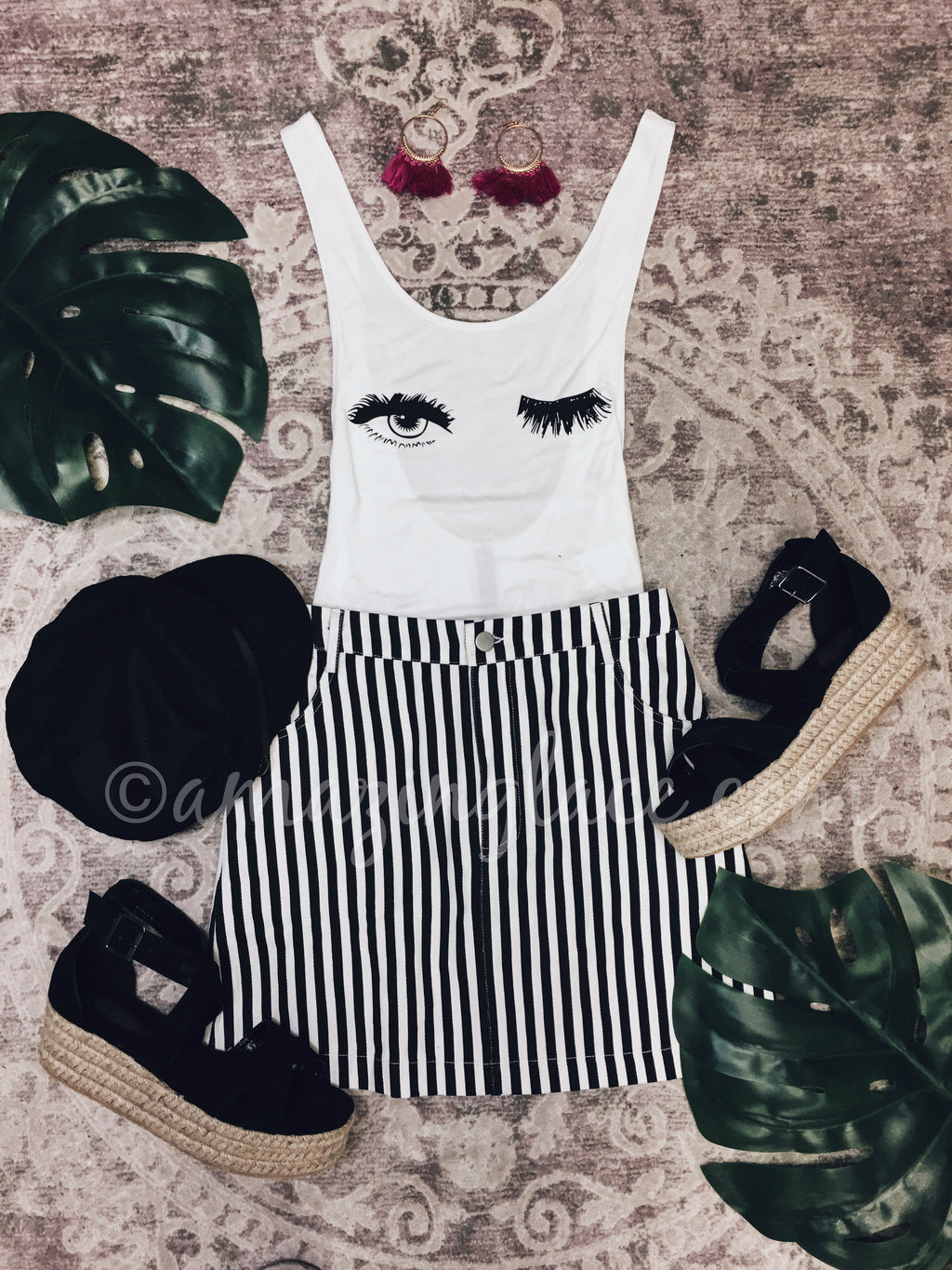 WHITE EYELASH BODYSUIT AND STRIPED SKIRT OUTFIT