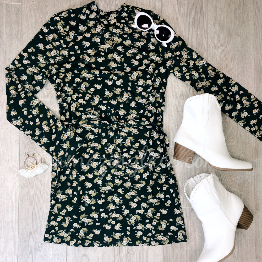AMUSE SOCIETY FLORAL DRESS AND WHITE WESTERN BOOTIE OUTFIT