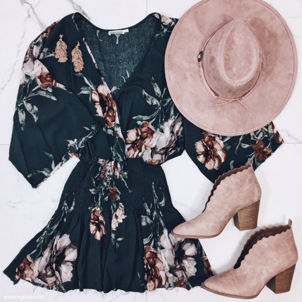FLORAL MINI DRESS AND PINK HAT OUTFIT
