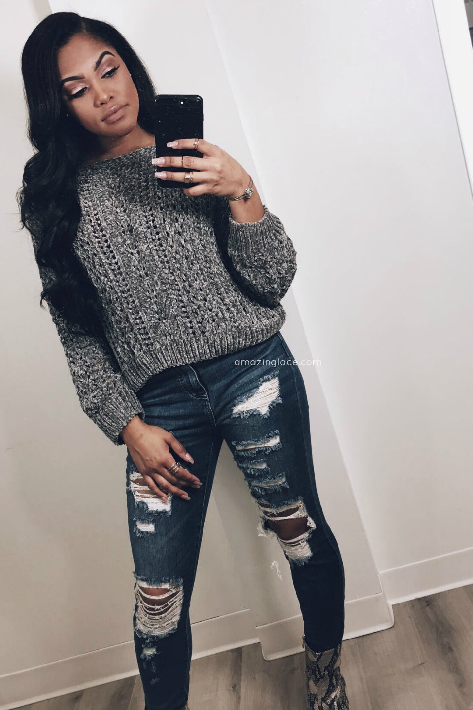 CROPPED CHENILLE SWEATER AND JEANS OUTFIT