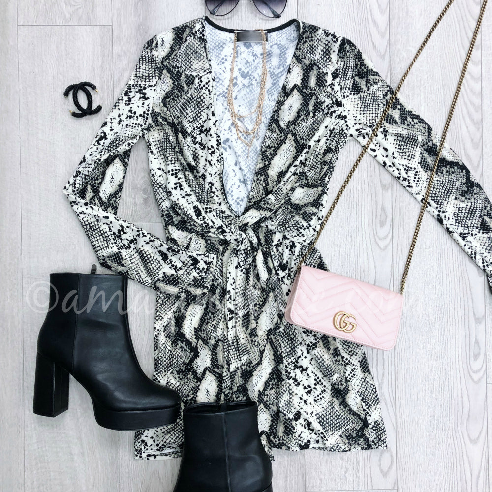 SNAKESKIN DRESS AND CHINESE LAUNDRY BOOTIES OUTFIT
