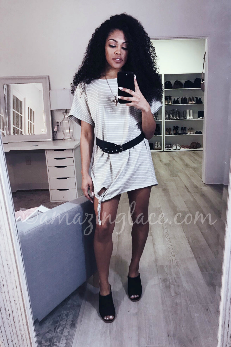 GRAY JERSEY DRESS AND BELT OUTFIT