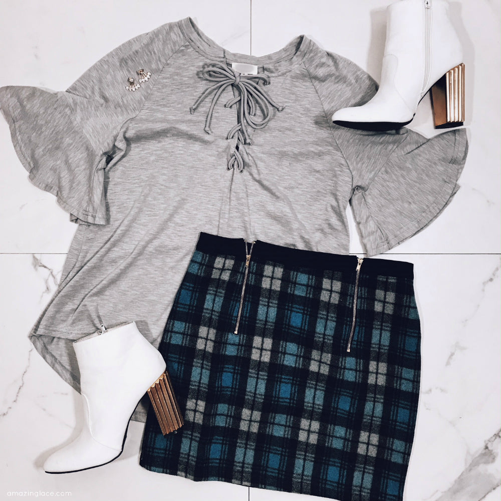 GRAY TOP AND BLUE PLAID SKIRT OUTFIT