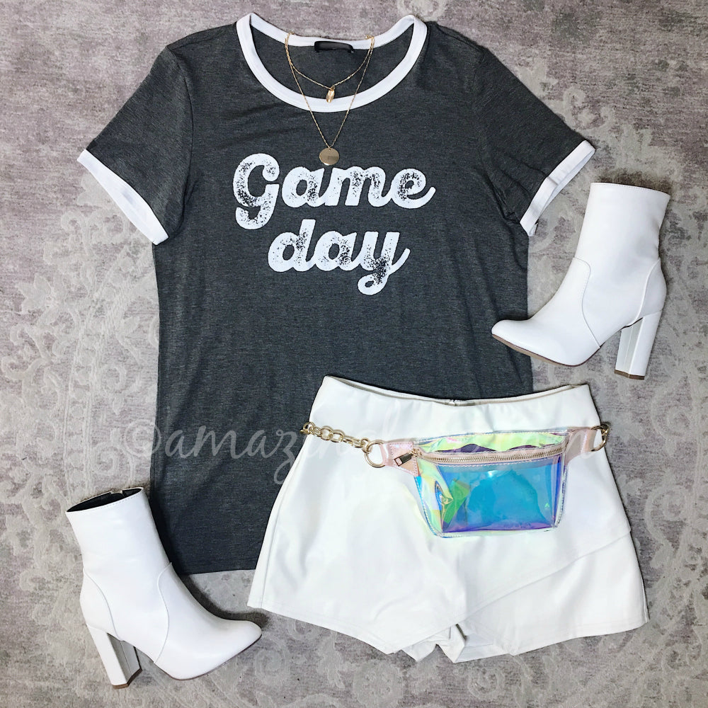 GAME DAY TEE AND WHITE SKORT OUTFIT