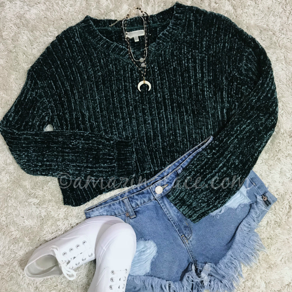 TEAL CHENILLE SWEATER AND SHORTS OUTFIT