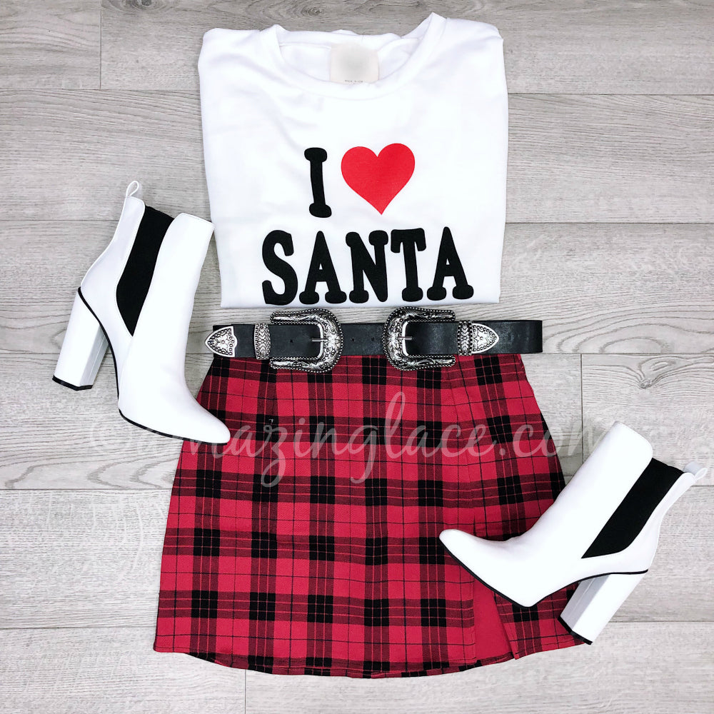 I LOVE SANTA TOP AND PLAID SKIRT OUTFIT