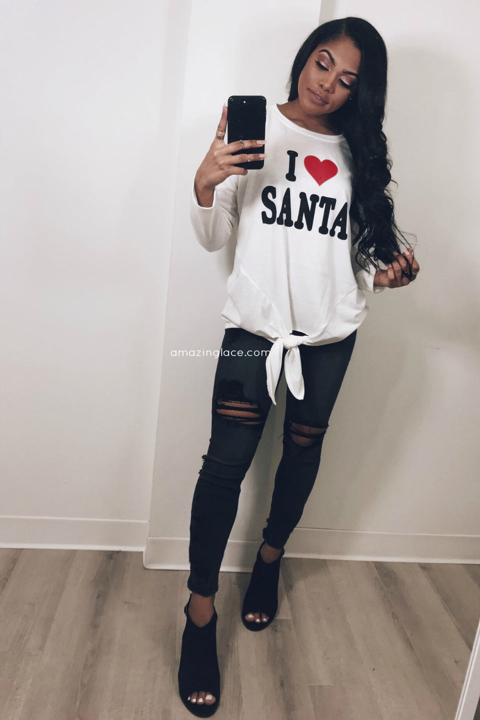 I HEART SANTA TOP HOLIDAY OUTFIT