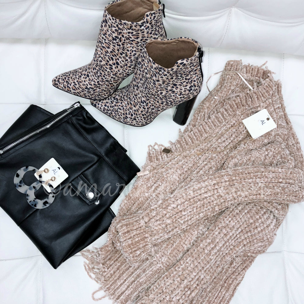KHAKI CHENILLE SWEATER AND LEOPARD BOOTIES OUTFIT